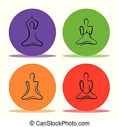 set of yoga poses in a colorful circle line drawing