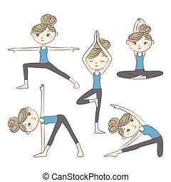Set of yoga poses isolated on white background