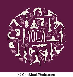Set of yoga poses.