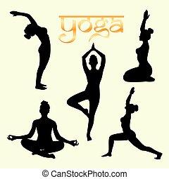 Set of yoga poses silhouette black.