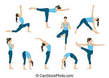 Young women do yoga exercises.