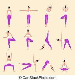 Set of yoga postures female