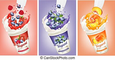Set of yogurt with strawberry, blueberry, raspberry, peach  in a milk and jiuce splash. Design template. Vector