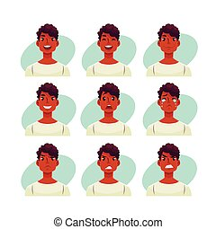 Set of young african man face expression avatars