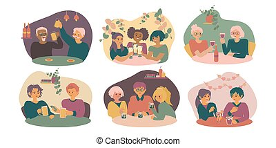 Set of young and old men and women sitting at cafe or restaurant tables talking to each other, drinking cofctails or beer with friend. Flat cartoon characters.
