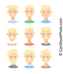 Set of young blonde male characters