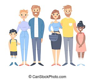 Set of young couples with adopted kids. Hand drawn women, men, asian boy and black girl
