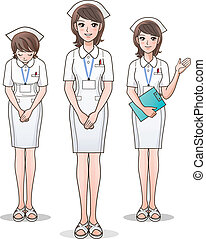 Set of young cute nurse welcoming with a smile, guiding...