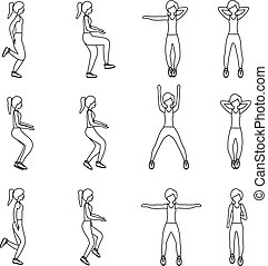 Set of young girls doing exercises in the gym. Beautiful fit woman doing exercises for body warming.