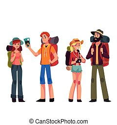Set of young male and female travelers with backpacks