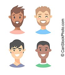 Set of young male characters