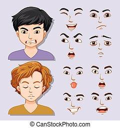 Set of young man facial expression