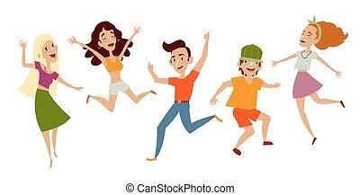 Set of young people, teenagers dancing, having fun