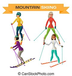 Set of young woman on mountain skiing on isolated background. Flat cartoon vector illustration