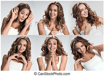 Set of young woman's portraits with different happy emotions