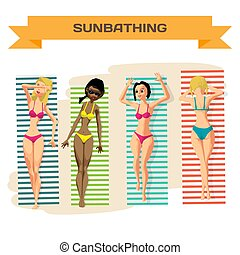 Set of young women in bikini sunbathing lying on the beach. View from above. Vector flat cartoon illustration isolated