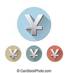 Set of Yuan currency symbol on colored circle flat icons, isolated on white. Concept of investment, asian market, savings. Vector illustration