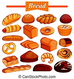 Set of yummy assorted Bread and Bakery Food item