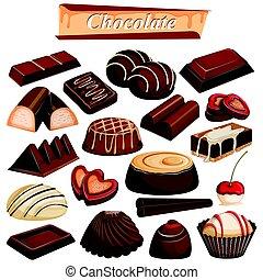 Set of yummy assorted Chocolate Food dessert
