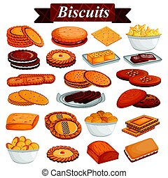 Set of yummy assorted Cookies and Biscuit Food dessert