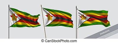 Set of Zimbabwe waving flag on isolated background vector ...