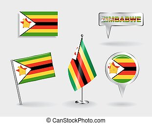 Set of Zimbabwean pin, icon and map pointer flags. Vector ...