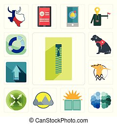 Set of zipper, free brain, sunday school, montain, extend, hoopoe, upgrade, service dog, sector icons