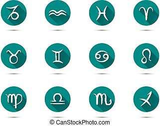 Set of zodiac flat icons with long shadow on green...