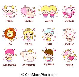Set of zodiac sign characters in kawaii style