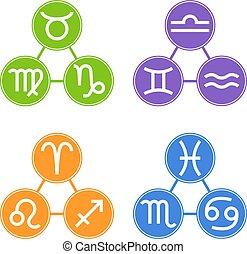 Set of Zodiac Signs Icons. Zodiac Element. Horoscope signs: Leo, Virgo, Scorpio, Libra, Aquarius, Sagittarius, Pisces, Capricorn, Taurus, Aries, Gemini, Cancer. Vector illustration for Your Design.