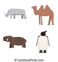 Set of zoo animals - Set of geometric zoo animals, Vector...