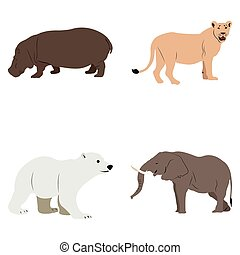 Vector set of wild or zoo animals Vector set of different