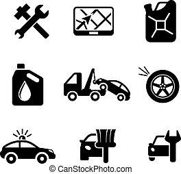 set, ofcar, servizio, e, automobile, icone