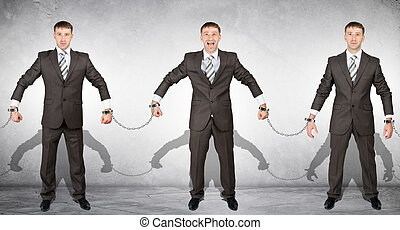 Set off businessmen in handcuffs