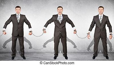 Set off businessmen in handcuffs