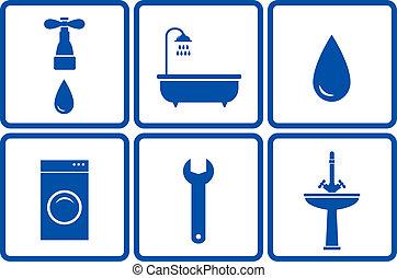 set, oggetti, bagno