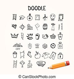 set, oggetti, scarabocchiare, icone, hand-drawn, vettore
