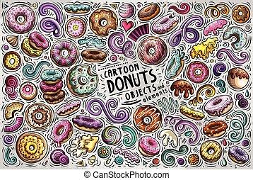 set, oggetti, scarabocchiare, simboli, vettore, donuts, cartone animato