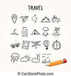 set, oggetti, scarabocchiare, universale, icone, mano, vettore, disegnato, viaggiare
