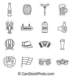 set, oktoberfest, stile, contorno, icone