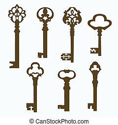 set old carved door keys - set of beautiful old carved door...