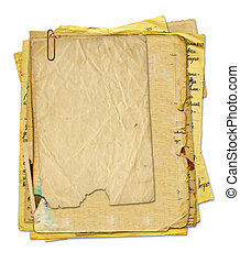set old paper in scrapbooking style on white isolated background