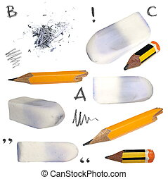 set old pencil, erasers, isolated
