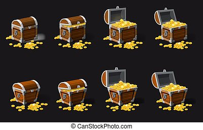 Set old pirate chests full of treasures, gold coins, vector, cartoon style, illustration, isolated. For games, advertising applications