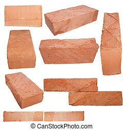 Set old red brick isolated