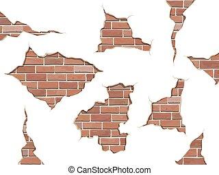 set old shabby concrete and brick cracks isolated