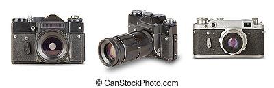set old, vintage, retro camera isolated