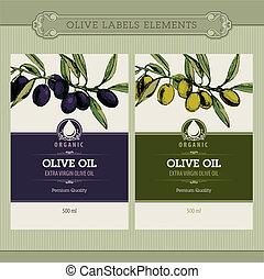 set, olie, olive, etiketten