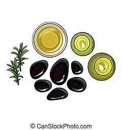 set, olio, asciugamano, -, basalto, candele, aromatico, terme, pietre, sale, massaggio