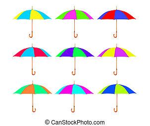 set, ombrello, isolato, white., variopinto